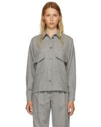MM6 by Maison Martin Margiela - Grey Wool Casual Tailoring Shirt - Lyst