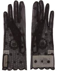 Gucci Black Embroidered Tulle GG Gloves