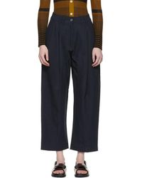 Studio Nicholson Navy Bag Double Pleat Tapered Trousers - Blue