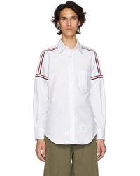 Thom Browne - White Elastic Stripe Seamed Classic Point Collar Shirt - Lyst