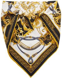 Versace Black Silk Barocco Bandana Scarf