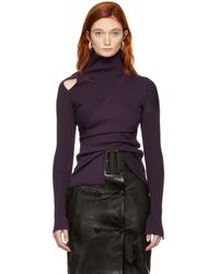 Yang Li - Purple Knit Shoulder Exposure Turtleneck - Lyst