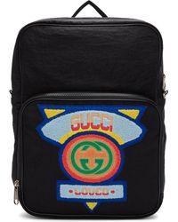 Gucci - ブラック ミディアム 80s パッチ バックパック - Lyst