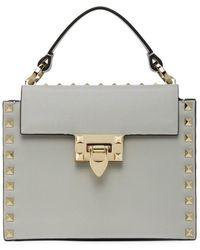 Valentino Gray Garavani Small Rockstud Top Handle Bag