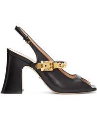 Gucci Sandales à talons bottiers noires Sylvie Chain