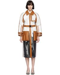 Fendi Leather Trim Plastic Trench Coat - Brown