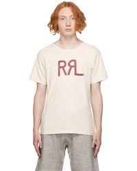 RRL オフホワイトレッド ロゴ T シャツ - ナチュラル