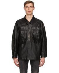 R13 Black Lambskin Fringe Jacket