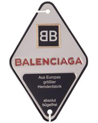 Balenciaga - Silver And Navy Diamond Stamp Badge Brooch - Lyst