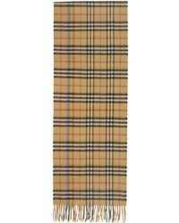Burberry - Yellow Cashmere Rainbow Check Scarf - Lyst
