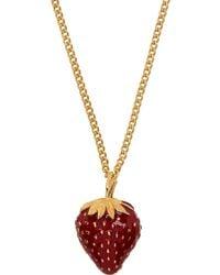 Saint Laurent Gold Long Strawberry Pendant Necklace - Metallic