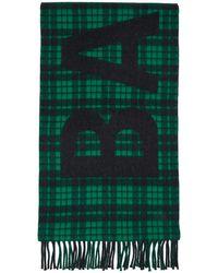 Balenciaga グリーン & ブラック Giant ロゴ マフラー