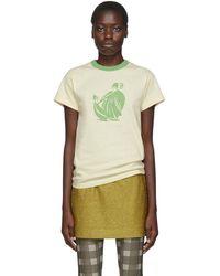Lanvin オフホワイト & グリーン プリント T シャツ