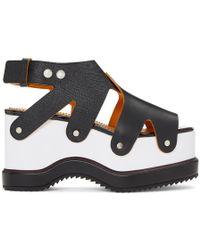 Proenza Schouler Two-Tone Leather Flatform Sandals - Black