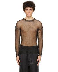 Isabel Benenato ブラック Mesh Metal クルーネック セーター