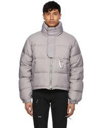 HELIOT EMIL Grey Down Carabiner Jacket