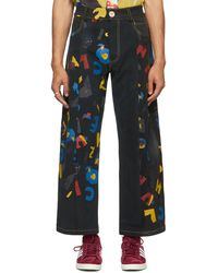 BETHANY WILLIAMS Black The Magpie Project Edition Deadstock Denim Aoc Print Jeans - Blue