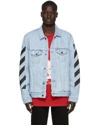 Off-White c/o Virgil Abloh Ssense Exclusive Blue Denim Temperature Jacket