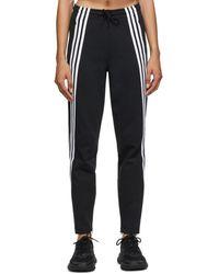 adidas Originals ブラック 3 ストライプ ダブル ニット ラウンジ パンツ