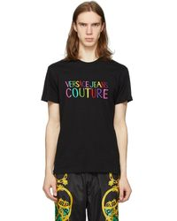 Versace Jeans - ブラック エンブロイダリー ロゴ T シャツ - Lyst