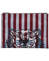 KENZO - Burgundy And Blue Striped Tiger A4 Pouch - Lyst