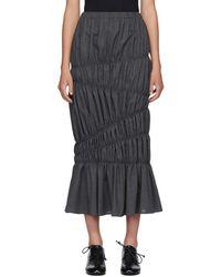 Enfold グレー ウール ライト サマー ティアード スカート