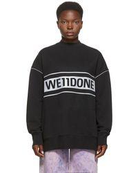 we11done ブラック Reflective ロゴ スウェットシャツ