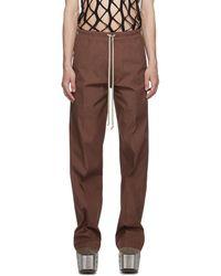 Rick Owens Burgundy Dietrich Drawstring Trousers - Brown