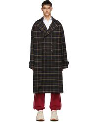 Gucci Blue And Yellow Check Hooded Coat