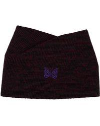 Needles Black & Pink Wool Collar Scarf