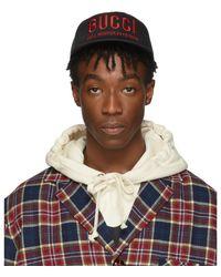 Gucci - ブラック And レッド ロゴ キャップ - Lyst