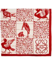 Loewe Red William De Morgan Cashmere Animal Tile Blanket