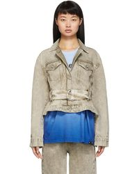 Proenza Schouler Taupe Rigid Belted Jacket - Multicolor