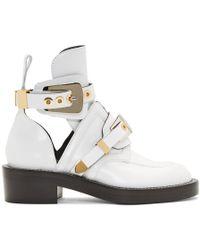 Balenciaga ホワイト レザー バックル ブーツ