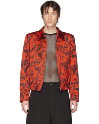 Dries Van Noten Red & Black Floral Zip-up Jacket