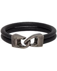 Saint Laurent Bracelet en cuir noir