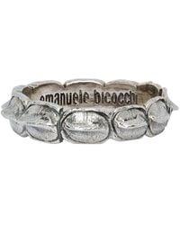 Emanuele Bicocchi Silver Croc Ring - Metallic