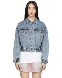 SJYP ブルー デニム ショート カラー ステッチ ジャケット