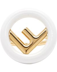 Fendi - Gold And White F Is Ring - Lyst