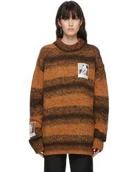 Raf Simons - オレンジ ウール ストライプ Polaroid セーター - Lyst