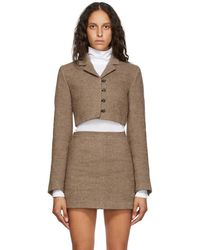 Opening Ceremony Beige Felted Cropped Blazer - Natural