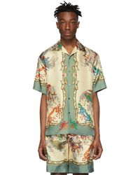Gucci Off-white Silk Jousting Bowling Shirt