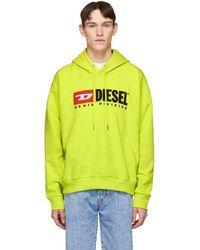 DIESEL - Pull a capuche jaune S-Division - Lyst