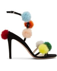 Fendi - Black Pom Pom Naked Sandals - Lyst