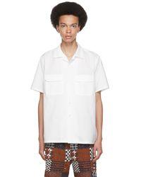 Beams Plus ホワイト オープン カラー ショート スリーブ シャツ