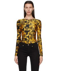 Versace Jeans Couture ブラック Baroque ロング スリーブ ボディスーツ