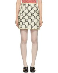 Gucci オフホワイト ツイード GG スプリーム ミニスカート