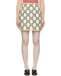 Gucci Off-white Tweed GG Supreme Miniskirt