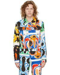 Charles Jeffrey LOVERBOY マルチカラー Art デニム ジャケット - ブルー