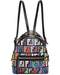 Fendi - Black Mini Logo Zaino Backpack - Lyst